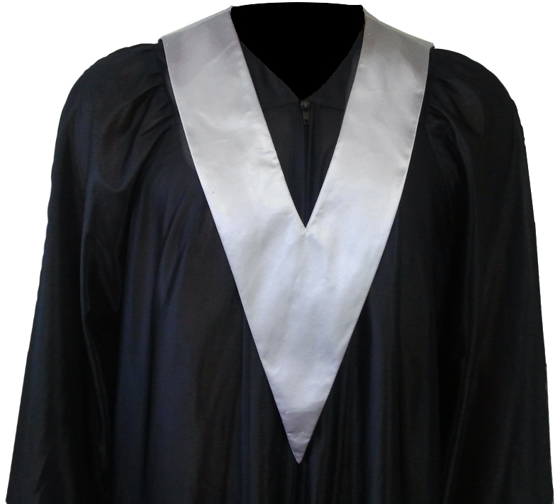 Graduation Gown + Student-Tie in colour silver
